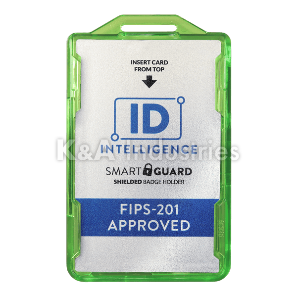 IDI926 FIPS-201 Approved ID Intelligence Smart Guard Shielded Badge Holder Green