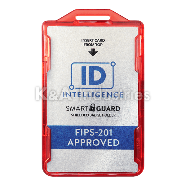 IDI926 FIPS-201 Approved ID Intelligence Smart Guard Shielded Badge Holder Red